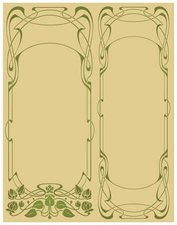 floral border: Abstract framework from the bound lines in style art-nouveau