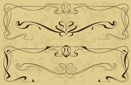 Abstract elements from the bound lines in style art-nouveau Vector