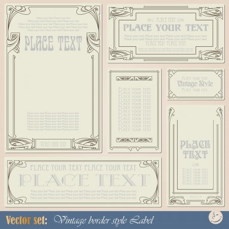 antique frame: vintage style labels on different topics for decoration and design