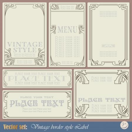 art nouveau: etichette su diversi argomenti per la progettazione e decorazione di stile vintage