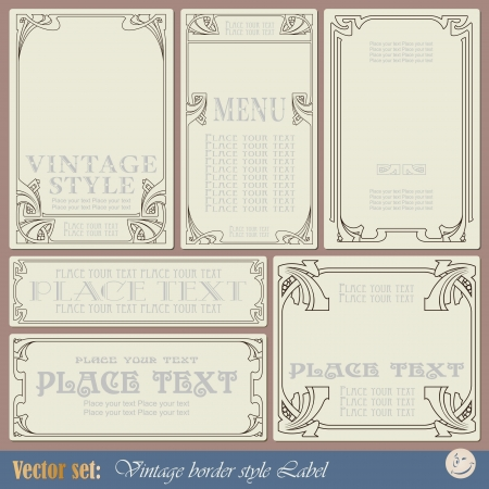 grunge border: vintage style labels on different topics for decoration and design