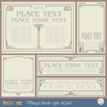 victorian border: vintage style labels on different topics for decoration and design