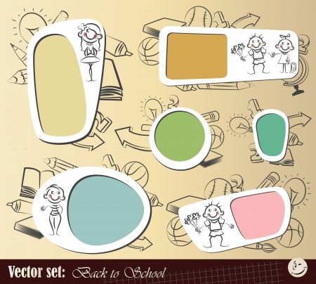 Vector set  Collection sticker and background  Back to School  Vector