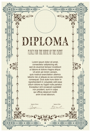 diploma: Vintage frame, certificate or diploma template Illustration