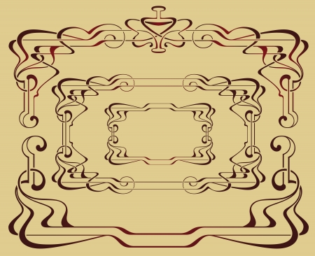 artnouveau: Abstract backgrounds from the bound lines in style art-nouveau