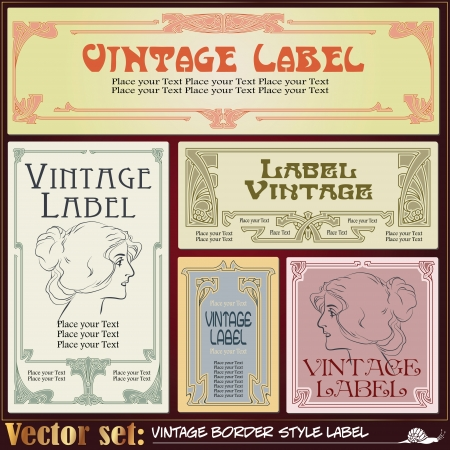 Border style labels on different topics for decoration and design Illustration
