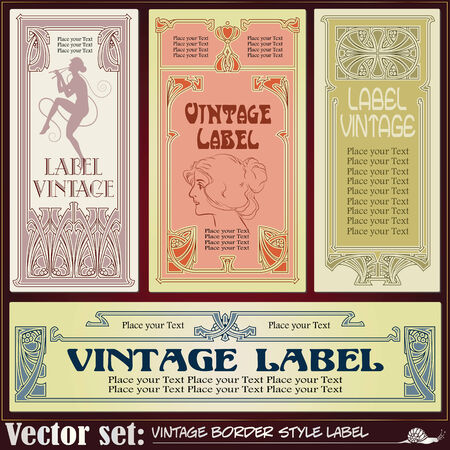 art nouveau border: Border style labels on different topics for decoration and design Illustration