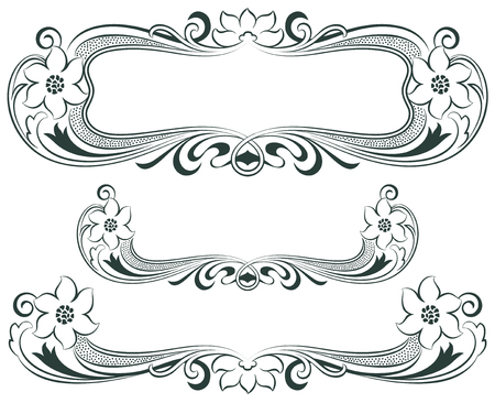 Abstract framework from the bound lines and flowers based on style art-nouveau Vector