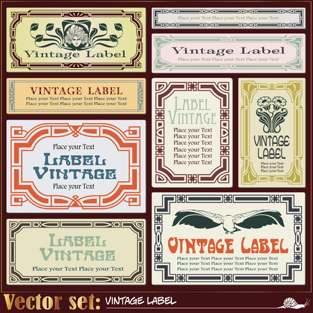 schoolbook: Border style labels on different topics for decoration and design Illustration