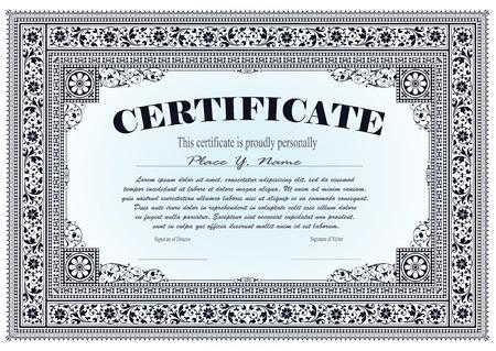 Vector vintage frame, certificate or diploma template Illustration