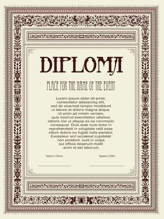 Vector vintage frame, certificate or diploma template Vector