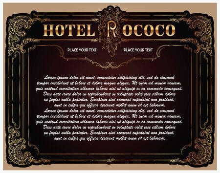 rococo style: Vector marco de lujo con frontera en estilo rococ�