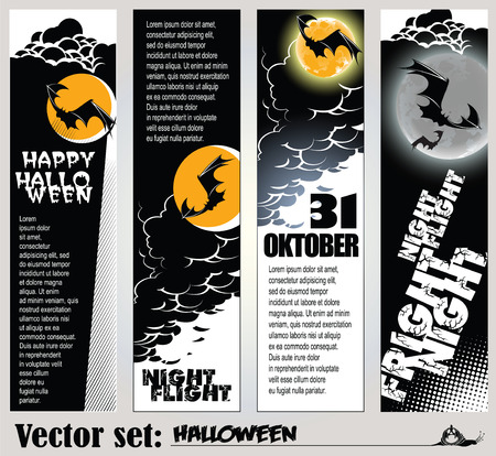 set: banners to prepare for the holiday Halloween Illustration
