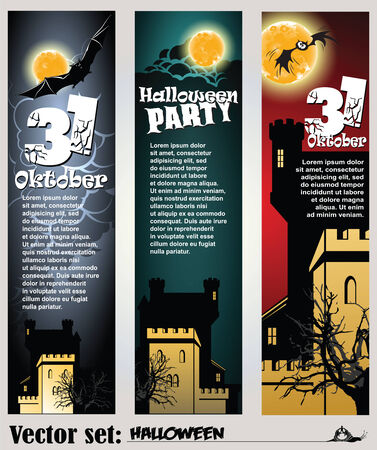 abbildung: set: banners to prepare for the holiday Halloween Illustration