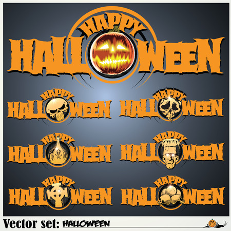 vector set: banners to prepare for the holiday Halloween