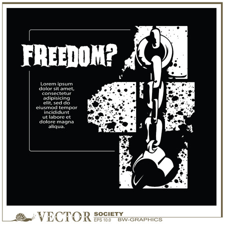 shackles: vector bw-graphics - Broken the shackles on the wall of the prison. Freedom?