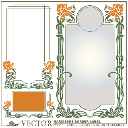 antique art: Border style labels on different topics with flower narcissus for decoration and design Illustration