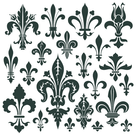 lily: Vector set lily flower - heraldic symbol for decoration and design Illustration
