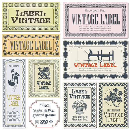 tradition art: Border style labels on different versions for decoration and design (brushes included) Illustration