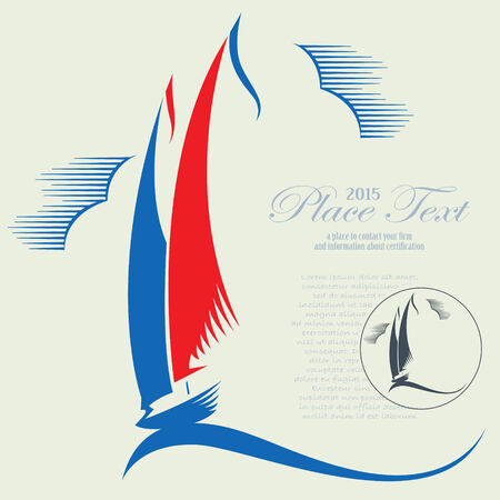 sailboat: Vector abstract yacht on the sea wave for decoration and design
