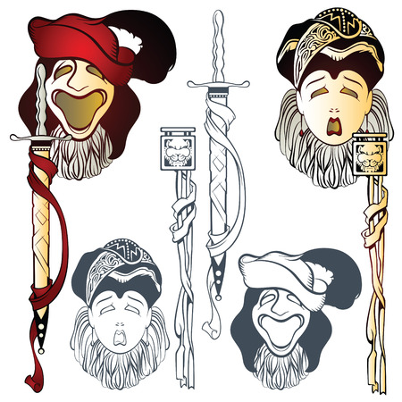 comedy disguise: Vector comedy and tragedy theatrical masks in Renaissance style