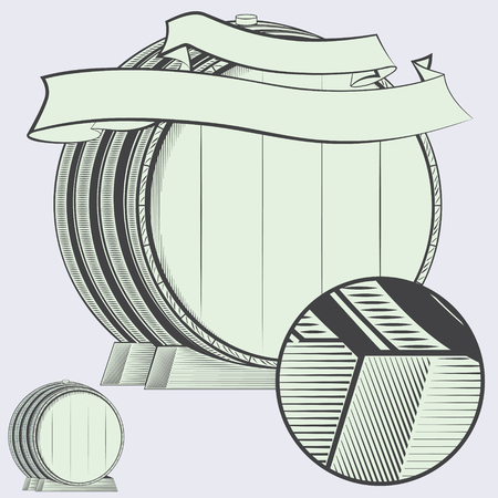 bbl: vector illustration - big wine wooden barrel with ribbon and place for your text