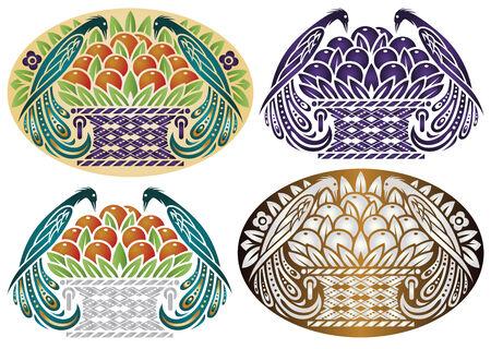 corbeille de fruits: vector illustration - oiseau de paradis sur un panier de fruits dans des styles diff�rents Illustration