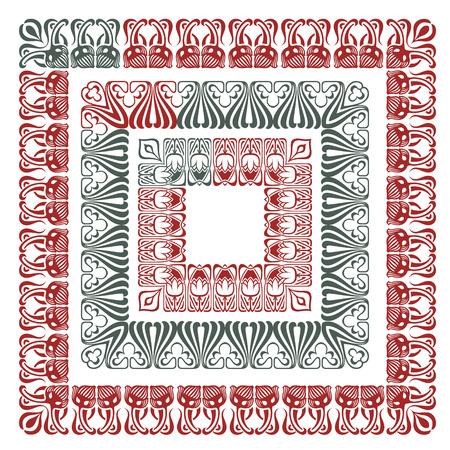 artnouveau: Vector flower ornament pattern in the art-nouveau style for decoration and design