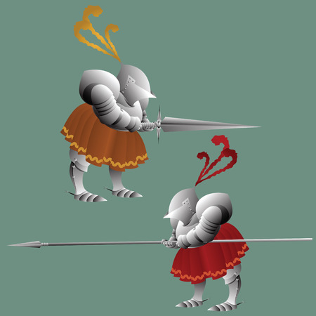 panoply: vector clipart. Funny knight in armor with a spear and sword.