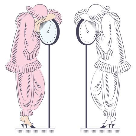Vector illustration. Sad woman on the floor scales. Vector