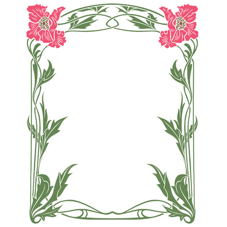 art nouveau border: Vector abstract framework from the bound flowers for decoration and design Illustration