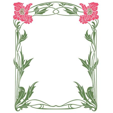 stile liberty: Vector quadro astratto dai fiori legati per la decorazione e design Vettoriali