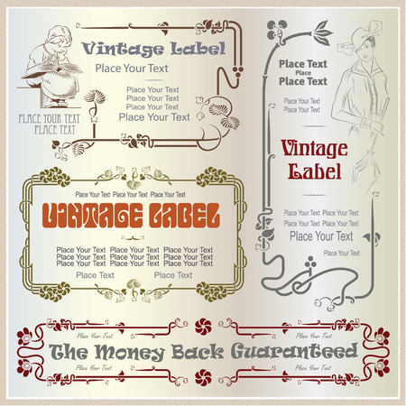 Vector vintage border style labels on different versions for decoration and design Çizim