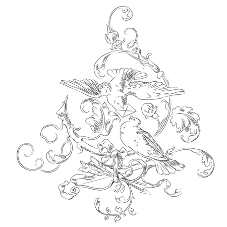 freedom couple: Vector hand drawn sketch - vignette Valentines Day - two doves in a tree