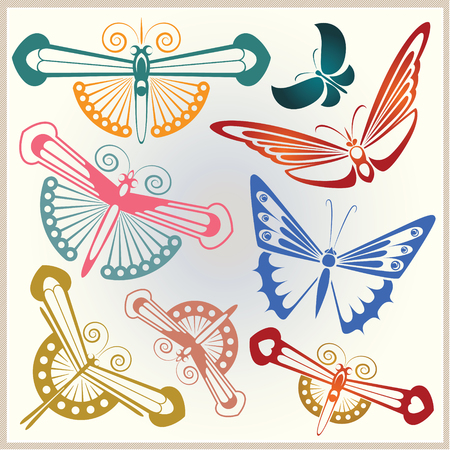 advertisements: Vector set of abstract butterflies for design invitations, advertisements, greeting cards and advertising. Illustration