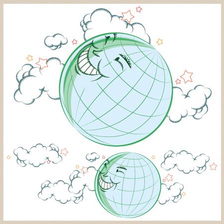 tierra caricatura: Vector de la ilustraci�n. Cartoon tierra sonr�e en las nubes. Vectores