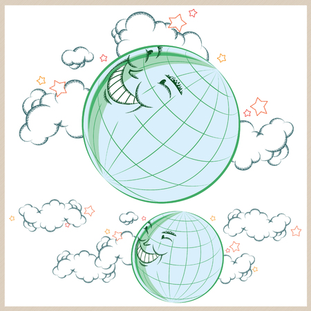cartoon earth: Vector stock illustration. Cartoon earth smiling in the clouds. Illustration