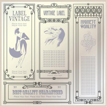 bordes decorativos: etiquetas de estilo vintage y etiquetas en diferentes versiones de decoración y diseño