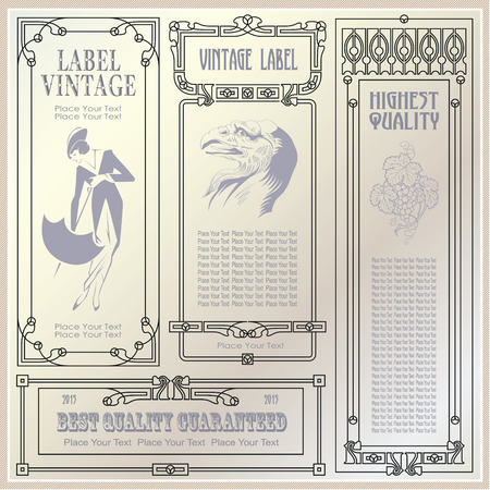 vintage style labels and tags on different versions for decoration and design