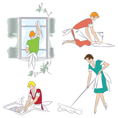 Vector stock illustration. Girl doing housework in the apartment. Vector