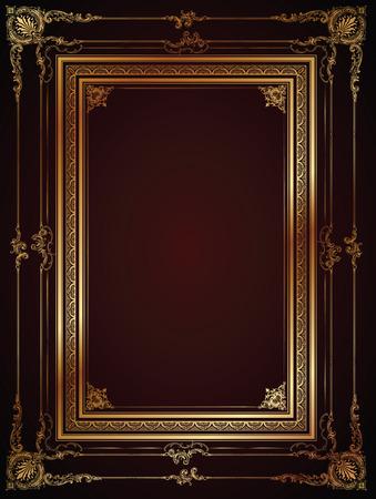 rococo style: Vector marco de lujo con la frontera en estilo rococ� para anuncios, boda, invitaciones o tarjetas de felicitaci�n