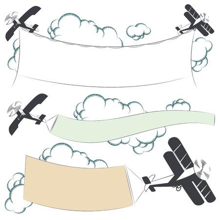 biplane: Vector stock illustration. Biplane aircraft pulling advertisement banner