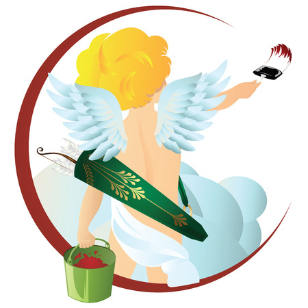 Vector stock illustration. Angel with a brush and a bucket of paint.