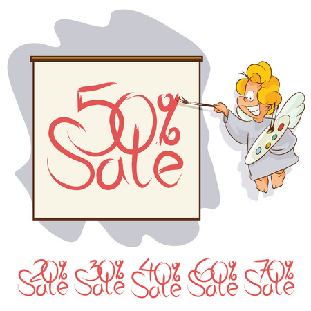 cupido: Vector stock illustration. Angel painting brush on a poster. Notice of sale.