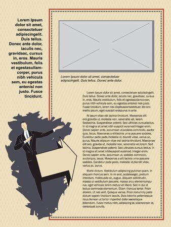 peri�dico: Template flayer, propagandas, convites ou cart�es. Homem e sinal de seta. Ilustra��o do vetor.