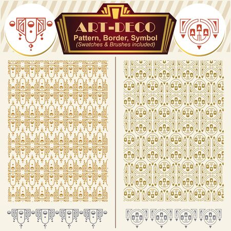 artdeco: Vector ornaments. Elements art-deco style. Pattern, brush, symbol