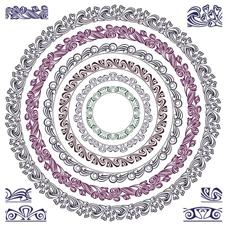 artnouveau: Vector ornament pattern in the art-nouveau style for decoration and design (Brushes included) Illustration