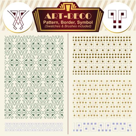 artdeco: Vector ornaments. Elements art-deco style. Pattern, brush, symbol