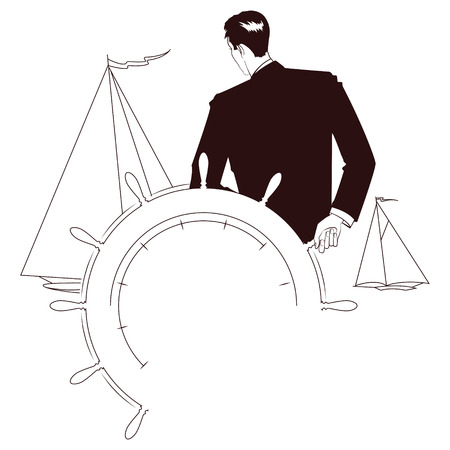 dockyard: Vector stock illustration. Captain at helm of yacht looking at other sailboats Illustration