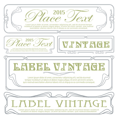 Vector abstract decorative label from bound plants and flowers Vector